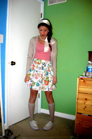 pink hollister top - white Forever21 skirt - beige Target socks - white Target s
