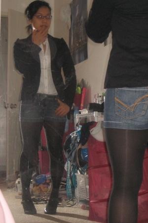 black Miss Bisou shoes - blue thrifted Gap blazer - black Target tights
