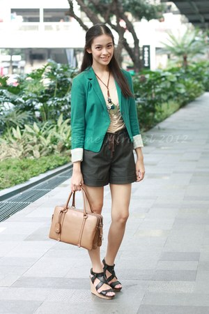 teal Topshop blazer - brown Dolce & Gabbana bag