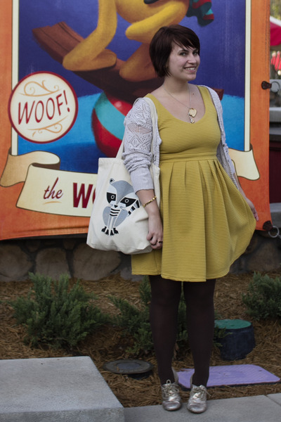 Target cardigan - modcloth dress - brown tights Francescas Collections tights