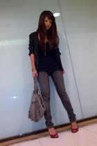 top - jeans - blazer - purse