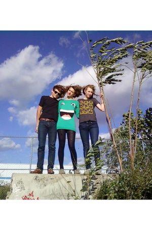 green H&M dress - black American Apparel tights - blue American Apparel tights