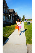hot pink H&M shorts - puce versace shoes - carrot orange Hermes bag
