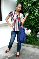 blue Terranova purse - red Mendrez shoes - blue jeans - blouse
