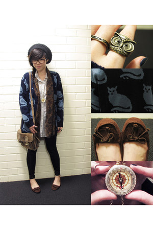 black wool beanie H&M hat - light brown Topshop bag - gold Topshop necklace - da