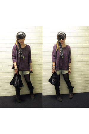 dark brown leatherette Forever 21 boots - amethyst box Sparkle & Fade sweater -