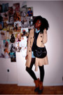 Tawny-bdg-boots-tan-h-m-coat-navy-thrifted-sweater-black-urban-outfitters-