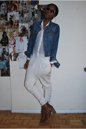 brown Forever 21 boots - blue BDG jacket - ivory harem H&M pants - white sheer H