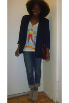 blazer - truly madly deeply shirt - accessories - H&M jeans - Steve Madden shoes
