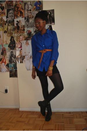 black boots - black Forever21 skirt - tawny thrifted belt - blue sheer H&M blous