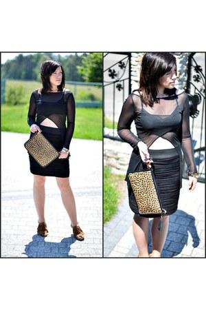 black transparent no name blouse - black bandage H&M skirt