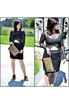 black transparent no name blouse - black bandage H&M skirt