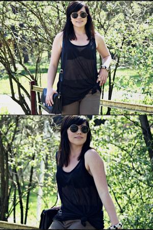 black black leather no brand bag - no brand sunglasses