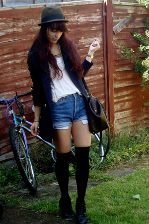 black boots - beige blouse - brown hat - black socks - white necklace