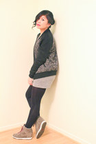 gray zip up wilfred sweater - heather gray jersey American Apparel dress