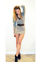 gray dress - brown vintage belt - gray Urban Outfitters necklace - brown