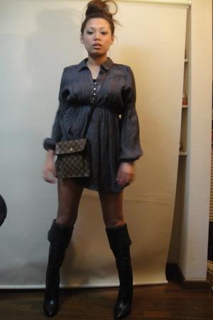 gray Zara top - black Zara boots - black Chanel shoes - brown louis Vitton purse