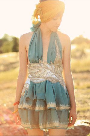 sky blue antique upcycled dress