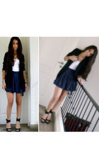 blue skirt - black H&M blazer - black Local Shoe Store shoes - white Forever 21