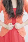 Carrot-orange-striped-sleeve-tally-weijl-blazer-red-tube-forever21-dress