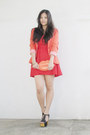 Red-tube-forever21-dress-carrot-orange-striped-sleeve-tally-weijl-blazer