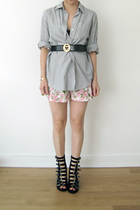 Burberry shirt - Topshop shorts - Moschino belt - Opening Ceremony boots