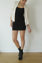 Topshop blazer - American Apparel dress - Miu Miu boots - J Crew necklace