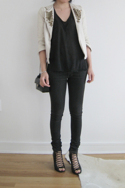 Topshop jacket - Kain t-shirt - acne jeans - Chanel purse - Givenchy shoes