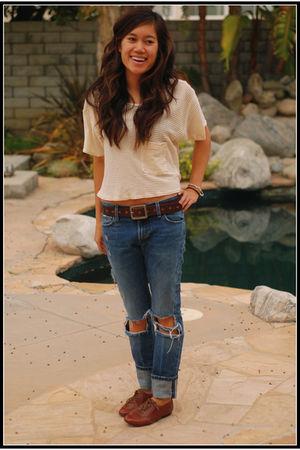 blue Erin Wasson x RVCA jeans - beige American Apparel shirt - brown Steve Madde