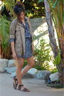 Blue-forever-21-dress-brown-gap-jacket-brown-forever-21-shoes