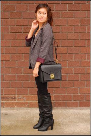 black vintage from Ebay boots - black Louis Vuitton bag - black American Apparel
