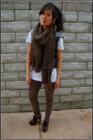 green H&M scarf - green Willow & Clay pants - black vintage vest - black sam ede
