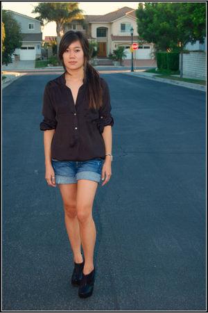 black Jeffrey Campbell shoes - jeffrey cambell blouse - blue anntaylor loft shor