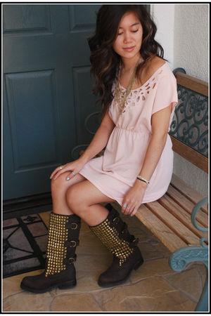 brown Jeffrey Campbell boots - pink vintage dress - gold Forever 21 necklace