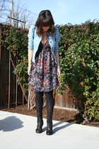 blue H&M dress - blue H&M jacket - black seychelles shoes - black Bloch tights