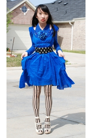 black Forever21 belt - beige Promise shoes - blue TJ Maxx dress