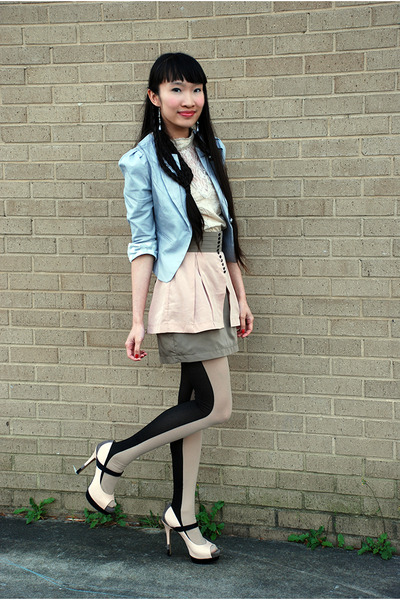 light pink Jessica Simpson heels - heather gray Ebay blazer