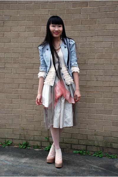 white moms dress - heather gray Ebay blazer - light pink Charlotte Russe stockin