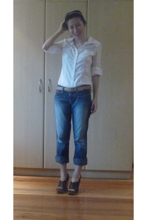 Old Navy blouse - a&f jeans - Chloe Platform wedge shoes - Hermes belt