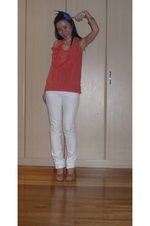 f21 blouse - Topshop jeans - C Ronson shoes - Mequita headband accessories