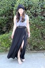 Black-maxi-high-slit-forever-21-skirt-heather-gray-diy-jamerson-t-shirt