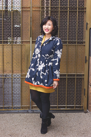 black modcloth boots - gold Fabrik dress - navy True Style jacket