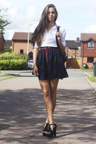 white Windsor Store shirt - black Chicwish bag - navy OASAP skirt