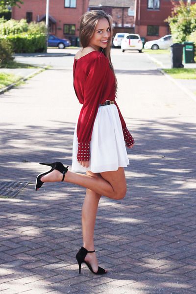 red Windsor Store top - black Windsor Store heels - white OASAP skirt