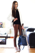 white GoodNight Macaroon blazer - navy Ebay bag - brown GoodNight Macaroon pants