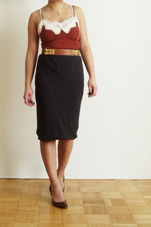 brown Dolce & Gabbana top - gold Hermes belt - gray Rick Owens skirt - brown Chr