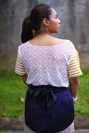 mustard WAGW top - black silk sash Edwin Macapagal belt - navy Topshop skirt