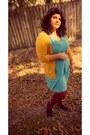 Sky-blue-target-dress-maroon-target-tights-mustard-target-cardigan