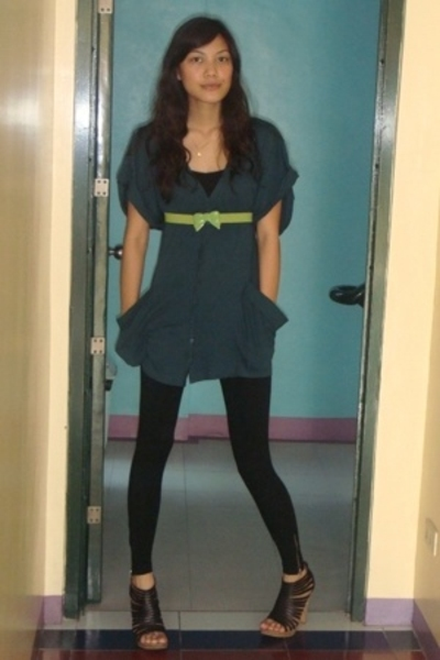 Topshop blouse - 50th ave belt - Topshop leggings - mathews shoes - forever 21 t