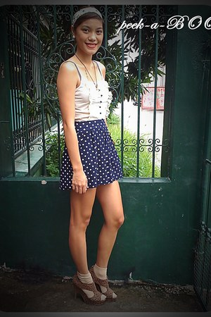 navy high waisted peek-a-boo shorts - bronze leopard heels Forever 21 shoes